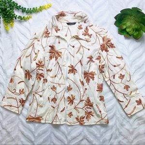 Samuel Dong Embroidered Full Zip Long Sleeve Top